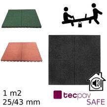 Pavimento Piso Borracha SBR - TecpavSAFE - Parque Infantil - 1M2- Segurança, Acústica